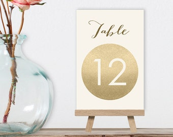 Wedding Table Numbers DIY / Gold Sparkle / Metallic Gold and Cream / Champagne Gold / Guest Seating / 1 to 40 ▷ Instant Download