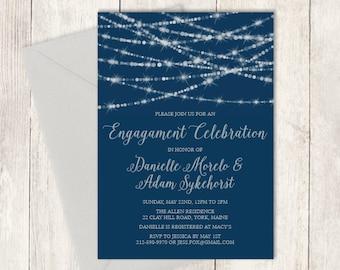 Elegant Engagement Party Invitation DIY / Festive Bokeh String Light Sparkle / Navy and Silver Calligraphy ▷ Printable PDF Invite