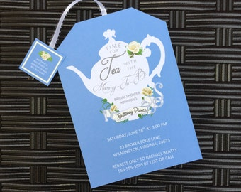 Tea Party Baby Shower Invitations Tea Pot Style