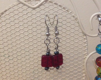 Red and Grey Drop Earrings