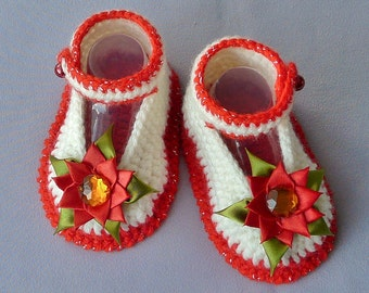Baby girl crochet booties, Infant Mary Jane shoes, Flower corsage sandals CREAM RED GREEN