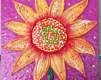 Hand Sculpted Folk Art Sunflower Painting