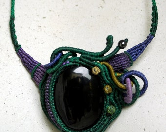 Black dark green Obsidian necklace
