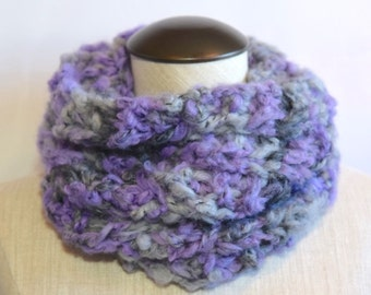 Purple Rain - This purple & grey cozy snood is perfect for the winter season. One size fits all.