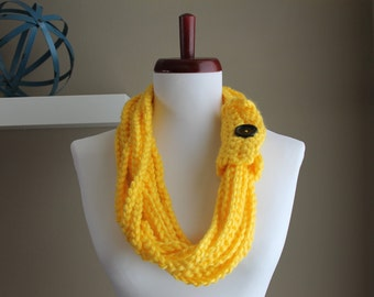 Crochet Rope Necklace Bright Yellow