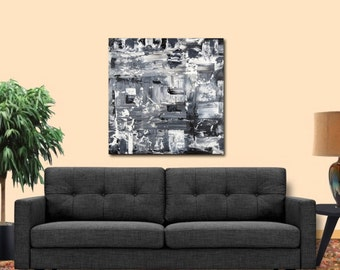 30X30 inch black white acrylic abstract painting original wall art free US shipping