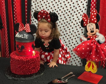 Minnie Mouse Tutu Birthday Decoration Tutu Pink OR Red Version Wood Table  Centerpiece Favor For Birthday