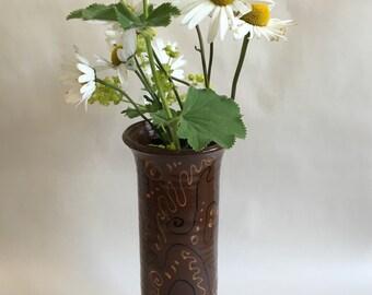Ceramic Vase / Handmade Pottery / Tall Brown