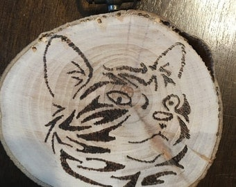 Cat sign, cat decor, pyrography, cat ornament, ornament, cat, wood burning, wood burned