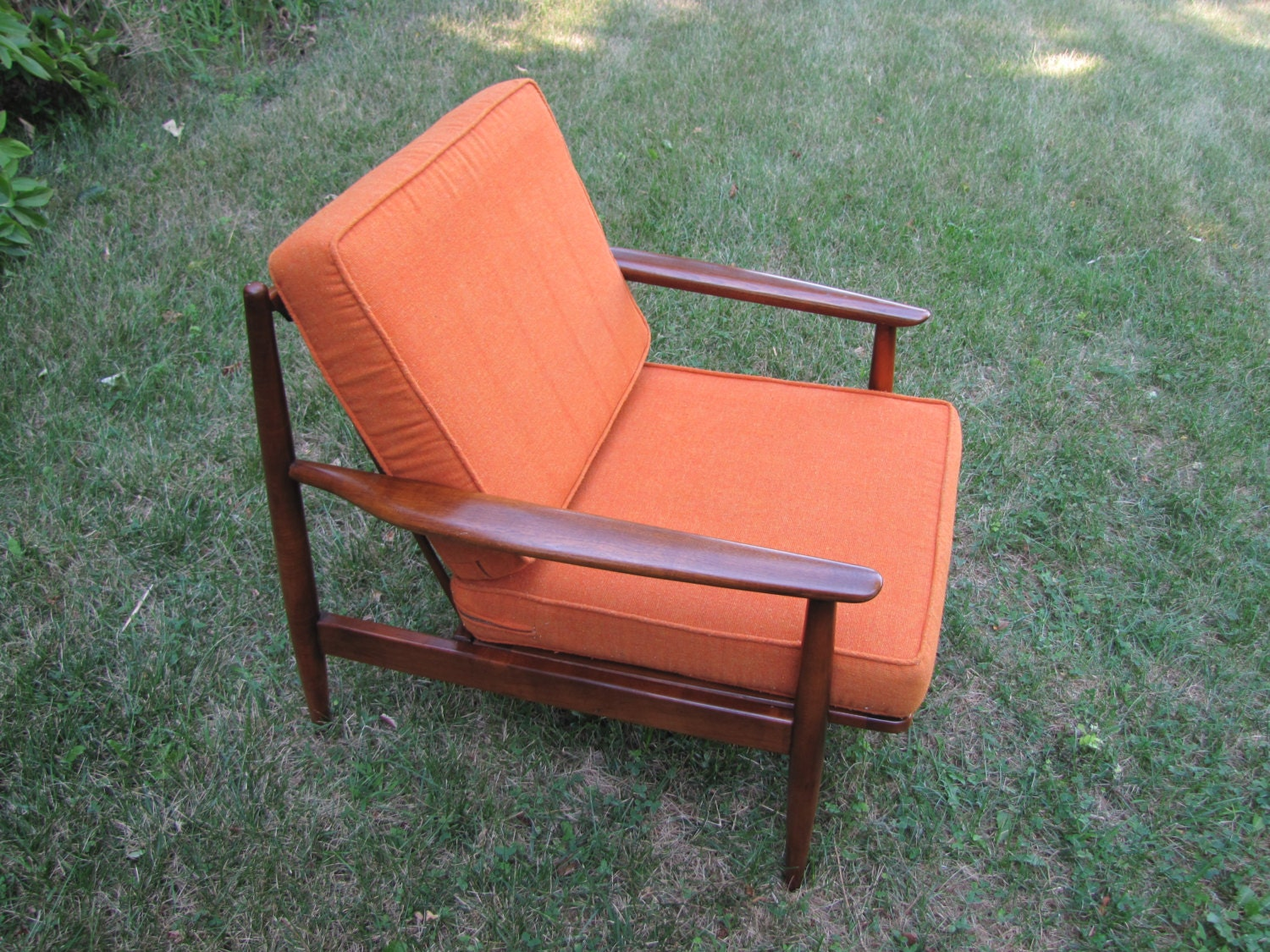 Mid Century Modern Lounge Chair Chair With Orange By CapeCodModern