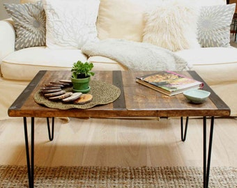 Reclaimed wood coffee table with inlaid metal strips, Industrial coffee table, urban coffee table, reclaimed wood table, vintage look