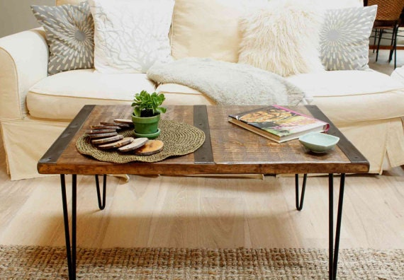 Reclaimed wood coffee table with inlaid metal strips, Industrial coffee  table, urban coffee table - Reclaimed Wood Coffee Table With Inlaid Metal Strips