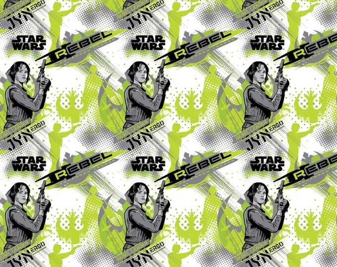 Star Wars Rogue One Collection by Camelot - Lime Star Wars Jyn Erso - Cotton Woven Fabric