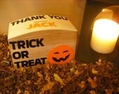 Halloween Treat or Trick CollectionMoney Box can be personalised. Make Halloween just a touch more spooky with this devilish little  box.
