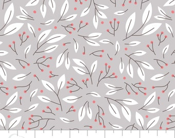 Camelot Fabrics Magnolia Collection,Floral Sprigs on Grey, 100% Cotton Quilting Fabric