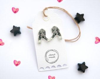 Handmade Illustrated Bedlington Terrier Puppy Earrings