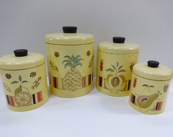 Canister Set, Metal Canister Set, Yellow Canister Set, Pineapple Canister Set, Ransburg, Ransburg Canister Set, Kitchen Canisters,Kitchen