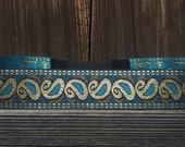 Mens hipster headband Hippie Boho Gypsy Green teal and gold paisley design festival hairpiece mens crown Boho accessory 70s style headbands