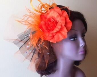Fascinator orange colour,wedding fascinators and hats,mother -of-the-bride fascinators,Kentucky derby,Triple Crown race