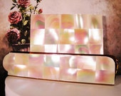 1950s MARHILL Mother of Pearl Square Compact and Matching Fold Away Comb – Set