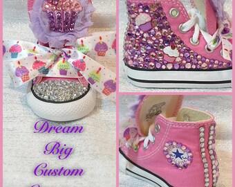 Toddler Custom Cupcake Bling High Top Converse (Size 3-10)