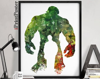 The Hulk Print, Hulk poster, Superhero print, Marvel poster, Marvel comics abstract, Wall art, avengers poster, gift for him, iPrintPoster