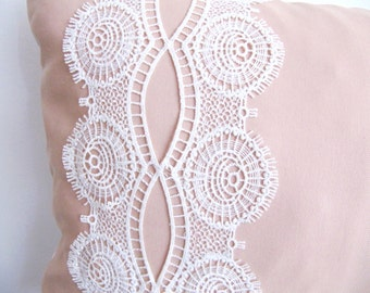 Pink Aredeo  Pillow Cover,Lace Pillow Case,Lumbar Pillow/Powder Pink Pillow Case/Pink Pillow Cover/Green Accent Pillow/Sofa Pillow