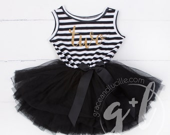 Second Birthday outfit second dress or Black and white with gold glitter, second birthday dress, second birthday outfit, 2nd birthday