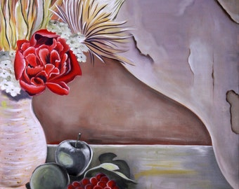 Still Life in Beige: Acrylic on Canvas, Artist Original, Gallery Stretched Canvas, Ready to Hang - SOLD