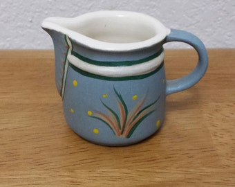 Ceramic Pitcher - Country Blue(#126E) -Clear Glazed on the inside and Stained Blue on the outside