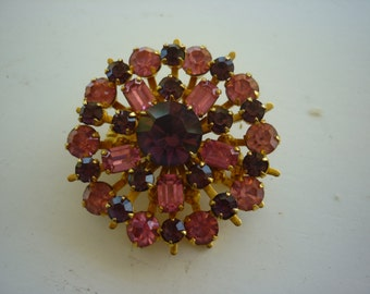 Vintage Brooch/red, pink gold tone