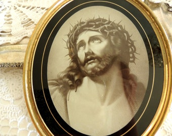 Brass Frame, Jesus Crown Thorns, Antique Picture in Brass Frame, Vintage Oval Brass Frame, Religious Catholic, Collectibles, Rare
