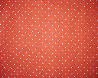 Cotton Calico Print Fabric, Rust Background With White Hearts,  2 Yards