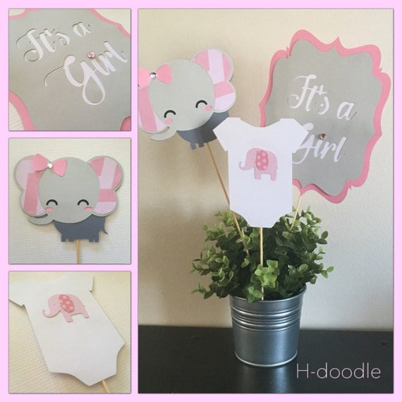 Gianna S Pink And Gray Elephant Nursery Reveal: Baby Elephant Centerpieces Set Of 3 Pink And Grey By Hdoodle