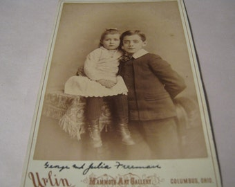 Vintage Photo Young Boy and Girl Antique Photograph
