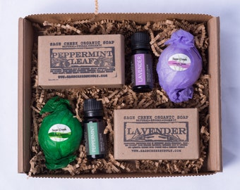 Lavender and Peppermint Spa Gift Set, Therapeutic Grade Essential Oil, Organic Bar Soap,