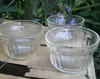 Set of 3 Vintage Anchor Hocking Custard Cups