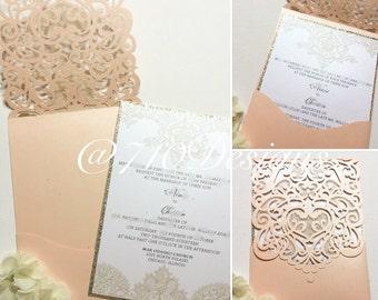Coral Lasercut and Gold Glitter Invitation Suite