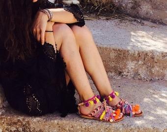 "POM POM Sandals, Boho, Greek Gladiator Sandals,""Peace and Love"" Boho sandals, Leather Sandals, Bohemian sandals, Gipsy sandals, Handmade S"