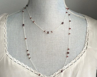 Garnet Gemstone Long Silver Necklace, Layering Necklace, January Birthstone, Bridal Jewellery