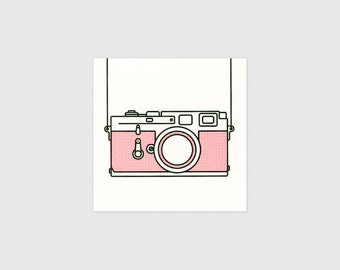 "Leica Camera Art Print - Mini 35mm Camera Illustration - Office Desk Sized Art Print - Classic Camera - 5x5"" Risograph Print - Things by us"