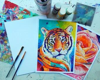 """Commission - 9x12"""" colorful animal portrait"""