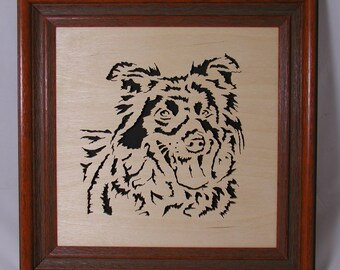 Border Collie Portrait in Wood