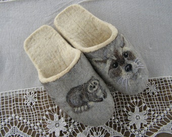 """Eco friendly handmade felted slippers. Slippers for home use with a picture on motives of the cartoon """"Raccoon"""""""