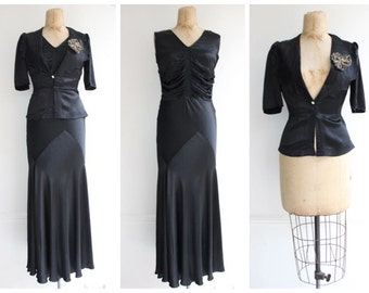 Vintage 1930's Black Satin Evening Gown and Jacket Vtg art deco 1930's thirties ball gown evening dress original 30's fishtail