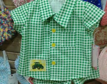 Little boys shirt and shorts size3-6 mos.green,white