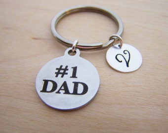 Number 1 Dad Charm - Personalized Key chain - Initial Key Chain - Custom Key Chain - Personalized Gift - Gift for Him / Her