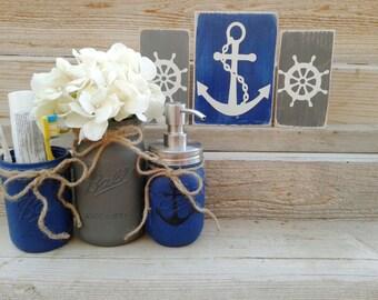 Anchor Decor, Rustic Nautical Bathroom Decor, Anchor Bathroom Decor,Mason Jars,Wood Anchor Sign,Anchor Decor,Nautical Decor,Grey,Blue,Navy