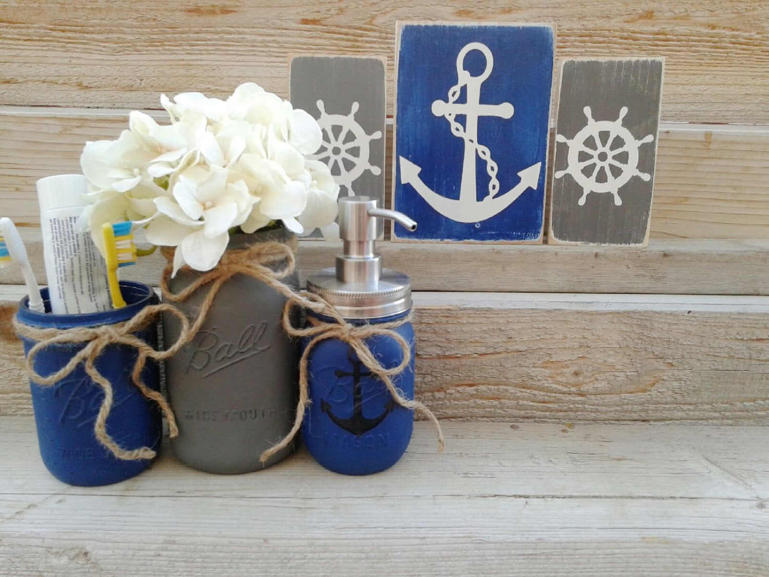 Anchor Decor Rustic Nautical Bathroom Decor Anchor Bathroom Decor Mason Jars Wood