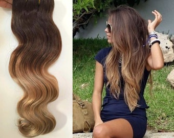 "18"" Straight Full Head Clip-in Dip Dye Ombre Human Hair Extensions Dark Brown to Sandy Blonde"